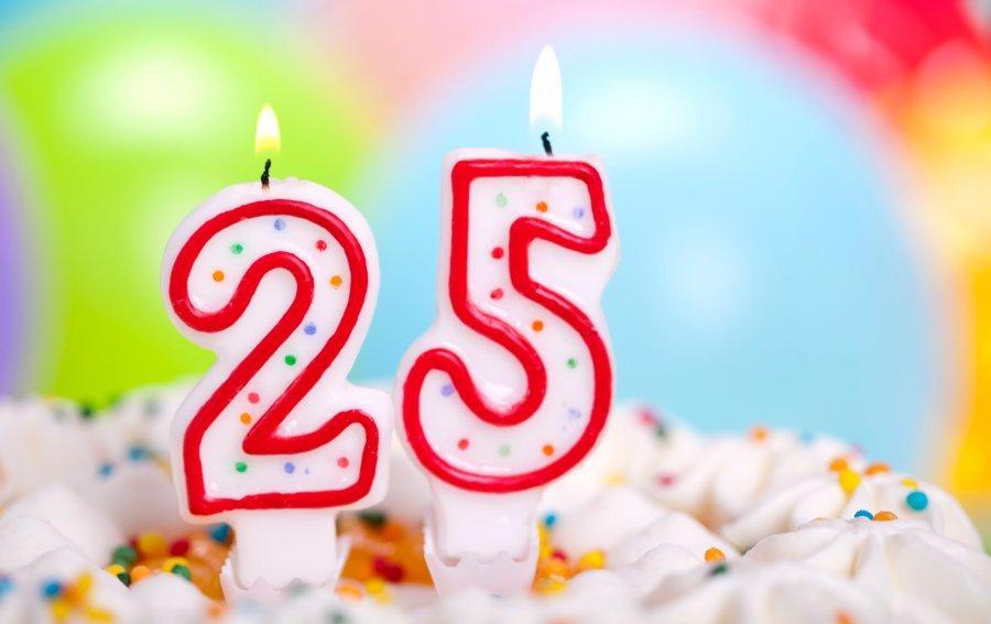 Bild von dem Produkt 25. Geburtstag Kerzen Vorderseite