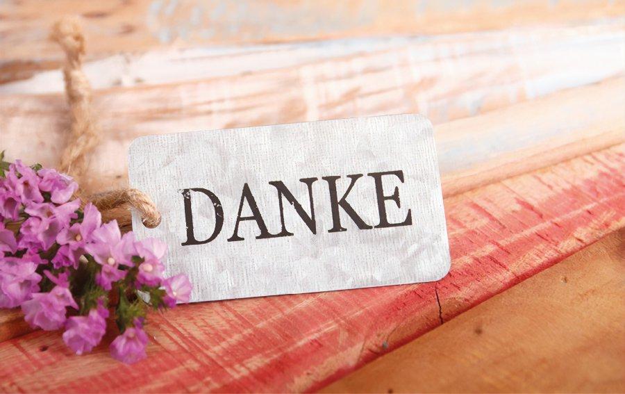 """Bild von dem Produkt Blümchen und """"Danke"""" Vorderseite"""