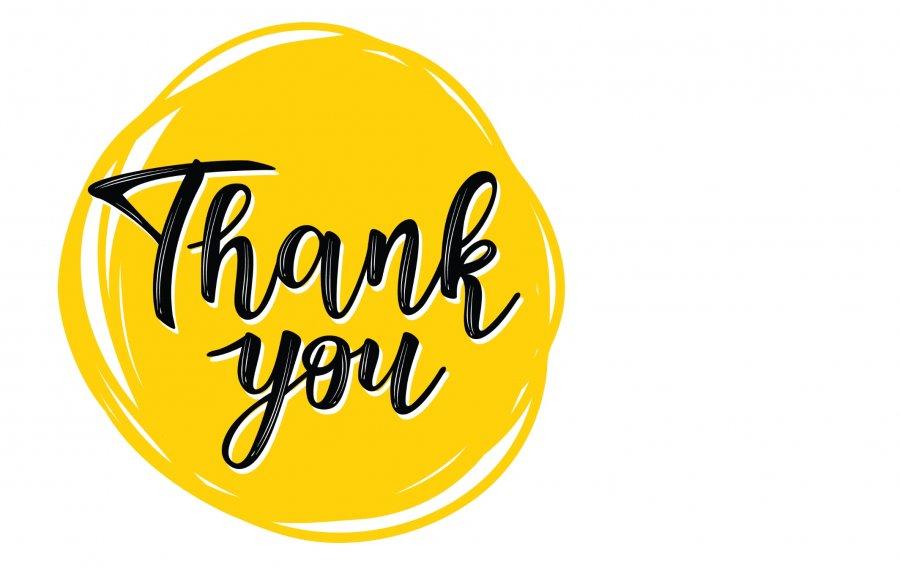 """Bild von dem Produkt Gelbes """"Thank you"""" Vorderseite"""