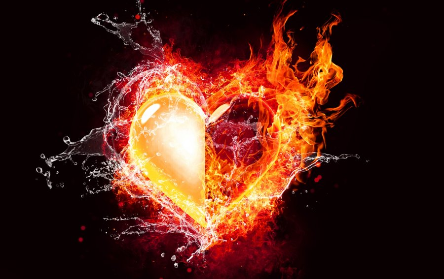 Bild von dem Produkt Herz mit Flamme und Wasser Vorderseite