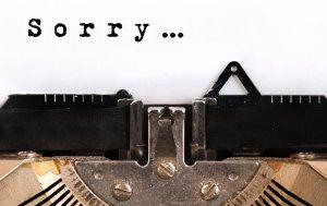 """Bild von dem Produkt Schreibmaschine mit """"Sorry"""""""
