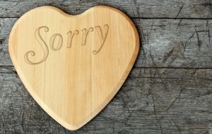 Bild von dem Produkt Sorry auf Holzherz